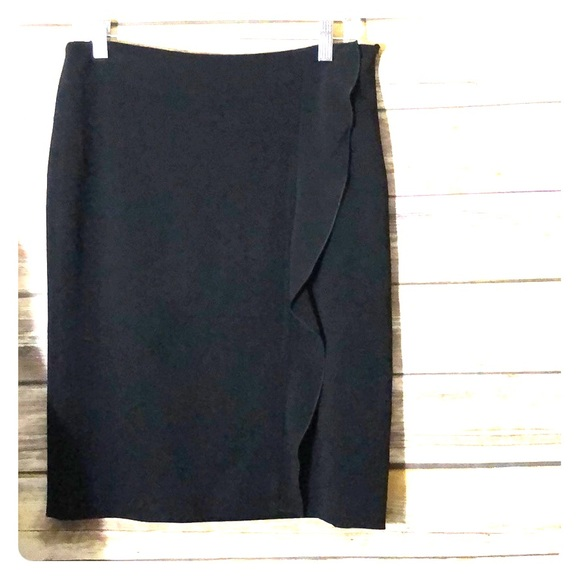 Valentino Dresses & Skirts - VALENTINO Pencil Skirt Side Ruffle Black